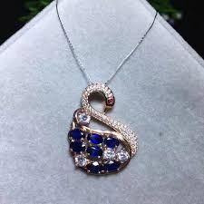 necklace with sapphire pendant images Natural blue sapphire pendant natural gemstone elegant swan jpg