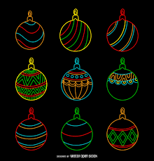 neon ornament set vector