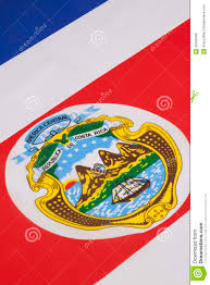 Costarican Flag Detail On The National Flag Of Costa Rica Stock Photo Image