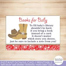 baby shower bring book instead of card cowboy baby shower book request cards country western baby boy