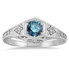 blue diamond 40ct art deco engagement ring antique vintage 14k