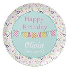 personalized birthday plate confetti personalized birthday plate teal birthday party