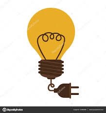 silhouette electric bulb with cord and plug u2014 stock vector
