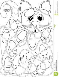 cat tangled in christmas lights coloring page stock illustration