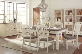 white dining room set signature design by bolanburg white and gray rectangular