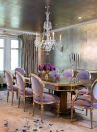 purple lavender upholstered dining chairs cream curtain flower
