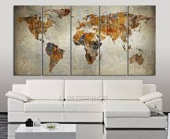 World Map Canvas Art by World Map Canvas Print On Old Wall Background Sephia World Map 5