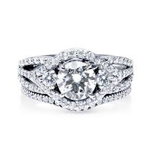wedding ring set for sterling silver cubic zirconia cz halo 3 engagement