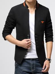 casual blazer masculine stand collar single breasted slim fit s casual