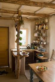 rustic small kitchen with wooden dining table wooden countertop