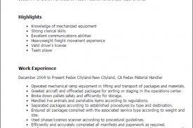 Sample Resume For Material Handler by Fedex Resume Resume Cv Cover Letter