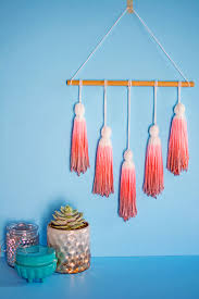 how to make home decor crafts diy dip dye yarn tassel wall hanging post at pbteen dip dyed