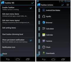 android menu how to add a windows like taskbar and start menu to android