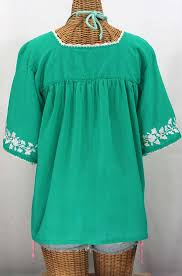 mint blouse la marina embroidered blouse mint green white embroidery