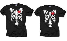 Tee Shirt Halloween Costumes Couple Matching T Shirts Halloween Costume T Shirt Skeleton