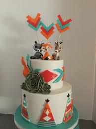 woodland animal theme cake with southwestern influence baby