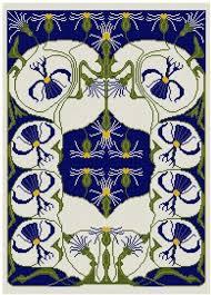 floral cross stitch design pdf pattern nouveau asters cross
