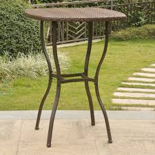 Square Patio Table by Euro Style Allan Round Stainless Steel Pub Table Hayneedle