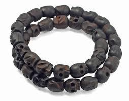 bracelet skull beads images Skull beads hand carved wooden quot momento mori quot bracelet choker 2 jpg