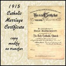 catholic marriage certificate second marketplace 1915 catholic blank marriage certificate