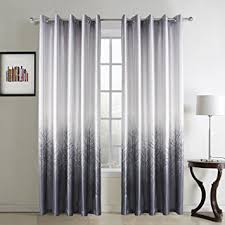 White Grey Curtains Gwell Tree Print Thermal Supersoft Eyelet Ring Top Curtains For