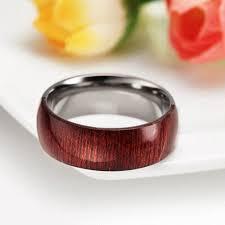 wood inlay wedding band wood inlay ring men 8mm engagement wedding band mahogany wooden