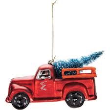 whimsical glass truck ornament