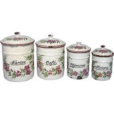 enamel kitchen canisters floral enamel graniteware kitchen canisters ruby
