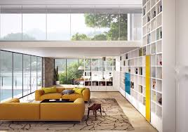 amazing white living room interior design ideas with yellow sofa