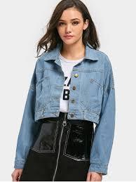 light blue cropped jean jacket cropped lace up denim jacket light blue jackets coats one size