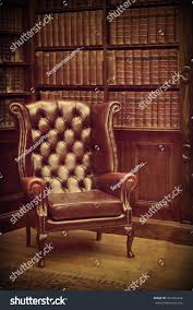 Vintage Brown Leather Chair Chesterfield Leather Armchair Classical Library Vintage Stock