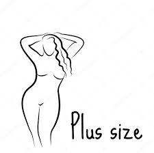 plus size model woman sketch hand drawing style fashion logo