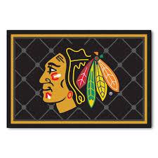 Nhl Area Rugs Fanmats Nhl Chicago Blackhawks Black 5 Ft X 8 Ft Indoor Area Rug