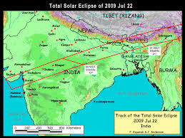 Map Of India And Nepal by Nasa Total Solar Eclipse Of 2009 July 22