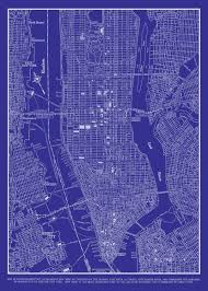 New York Street Map by 1944 New York City Manhattan Street Map Vintage Blueprint