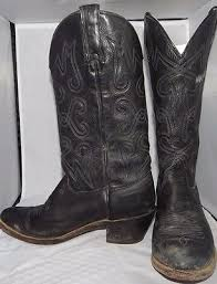 womens vintage cowboy boots size 9 wrangler vintage cowboy boots black leather made in usa s