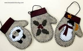 felt ornaments mitten by twistedsticks on etsy