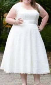 Tea Length Wedding Dress David U0027s Bridal Tea Length Plus Size Wedding Dress With Shrug 9t