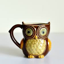 owl mug owl ceramic coffee mug tea milk mugs brown painted