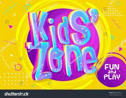 kids zone vector banner cartoon style stock vector 683650732