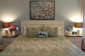 diy room decor vintage brown varnished wooden headboard bed light