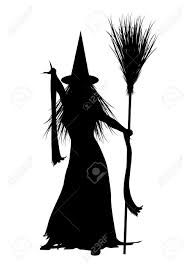 halloween black and white background silhouette of halloween witch on white background stock photo