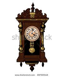 old clock drawing colored outline vector stock vector 175046411