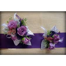 Corsage And Boutonniere Set Harts Lavender Rose U0026 Silver Corsage U0026 Boutonniere Set Bad Axe