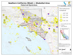 Pasadena Ca Map Great Shakeout Earthquake Drills Southern California West Area