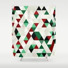 christmas red green black white cream shower curtain products