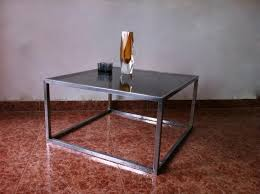 vintage square coffee table vintage square smoked glass aluminum coffee table 1960s for sale