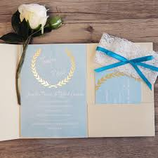 affordable pocket wedding invitations dusty blue and gold fold pocket wedding invitations with glitter