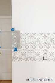 How To Wash Painted Walls by How To Stencil A Wall And Add Floating Shelves The Latina Next Door