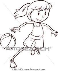 clipart of a simple sketch of a female basketball player k21775204